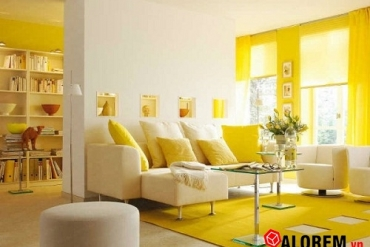 Rèm cửa màu vàng chanh cho căn phòng vào mùa thu